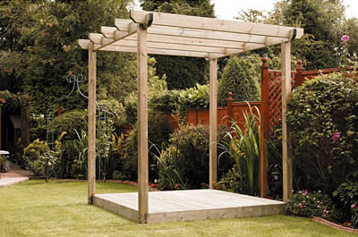 Single deck with pergola kit.