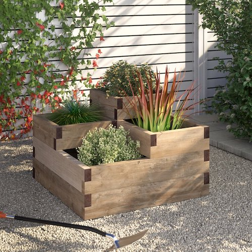 Tiered raised bed for plants or vegetables.