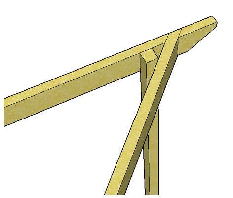 Copyright image: Un-notched rafter for the triangular pergola.