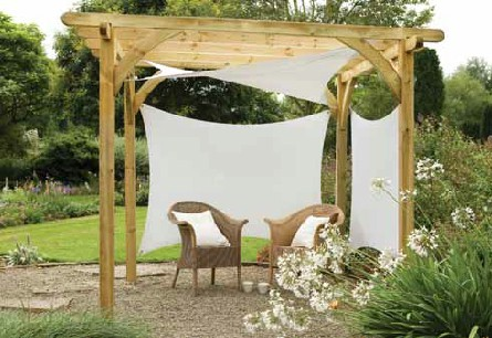 'Ultima' pergola with shade sails attached.