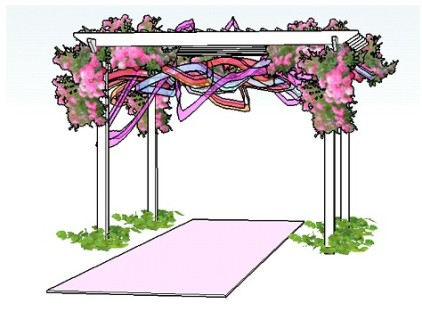 Copyright image: A romantic wedding bower pergola design with climbing roses and colourful ribbons.