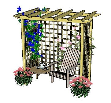 Copyright image: A seated arbour made from the pergola, arch and arbour plans.