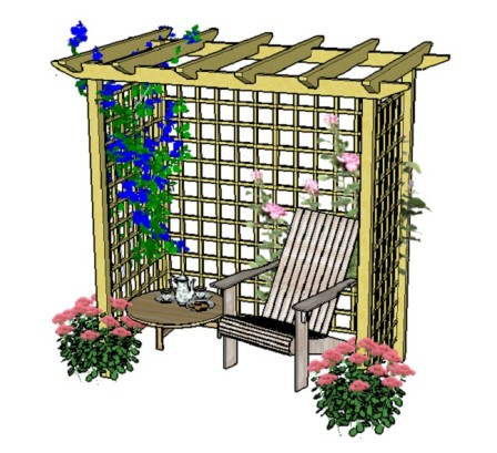 Copyright image: An arbour with trellis, chair and table.