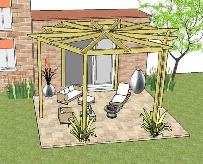Copyright image: the hexagonal pergola plans used as a patio pergola attached to the house.