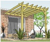 Copyright image: A fantastic attached lean-to pergola made using the step-by-step attached pergola plans.