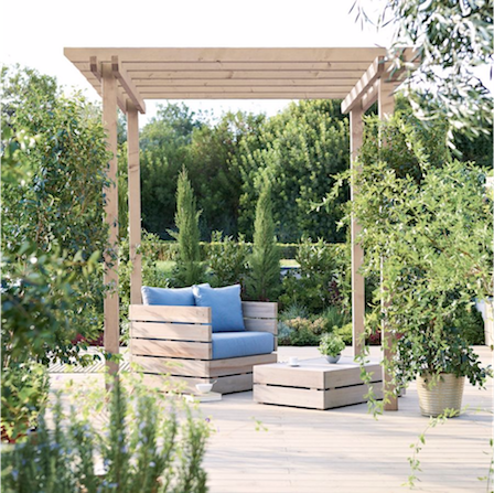 Modern pergola feature for a contemporary garden design.