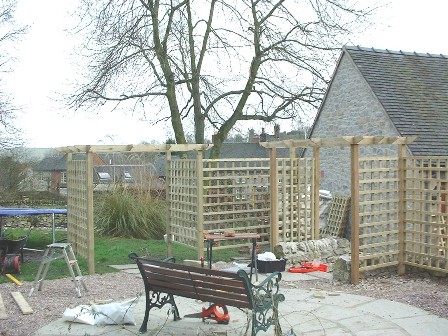 Copyright image: Pergola construction with trellis.