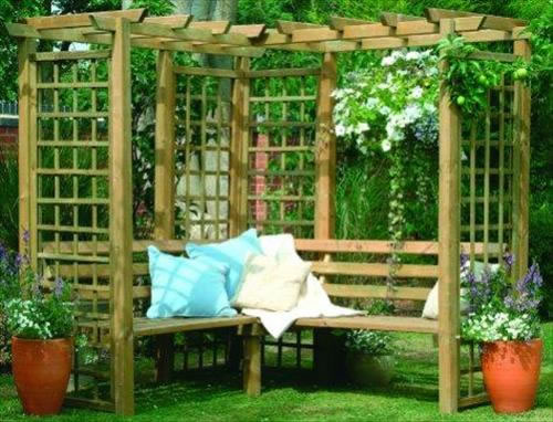 Forest Garden Sorrento corner arbour kit.