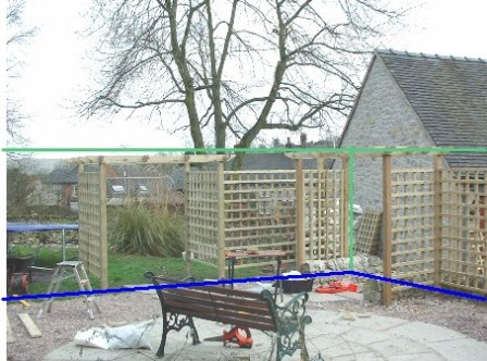 Copyright image: Pergola construction with trellis showing effects of adding height to the garden.