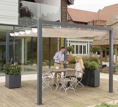 Modern metal pergola with retractable canopy.