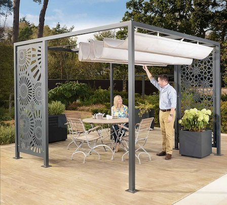 Modern metal pergola with fretted scroll panels.