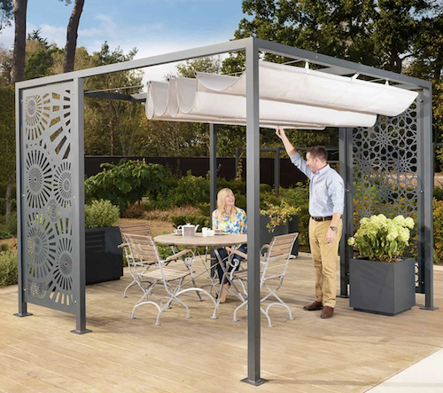 Modern metal pergola with retractable canopy and fretted side panels.