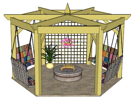 Copyright image: A fabulous hexagonal pergola with swing bench and trellis.