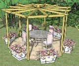 Copyright image: An unusual hexagonal pergola, with beautiful radiating rafters, with dining chairs and table.