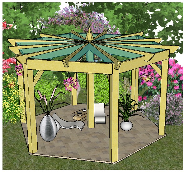 Copyright image: A beautiful large hexagonal pergola with centre post support, built from the step-by-step pergola plans.