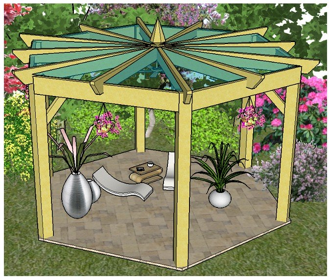 Copyright image: A beautiful large hexagonal pergola, built from the step-by-step pergola plans.