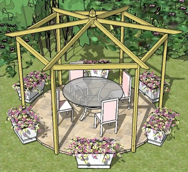Copyright image:Hexagonal pergola made from the hexagonal pergola plans with pitched roof.