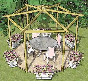 Copyright image: A beautiful pitched roof hexagonal pergola made from the step-by-step pergola plans.