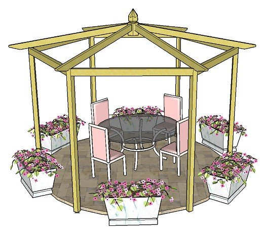 Copyright image: the hexagonal pergola with a pitched roof and kingpin.