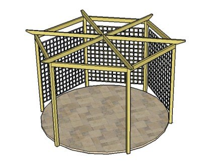 Copyright image: A hexagonal pergola, with six radiating rafters and trellis, made from the step-by-step pergola plans.