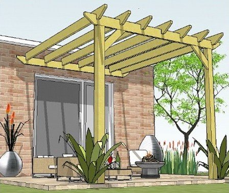 Copyright image: A lean to pergola attached to the house, made from the step-by-step, DIY pergola plans.
