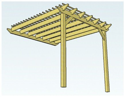 Copyright image: Attached lean-to pergola with rafters, ledger board and purlins.