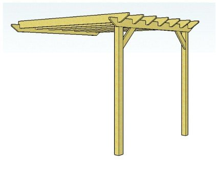 Copyright image: Attached lean-to pergola with rafters and ledger board.