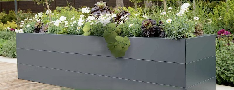 Beautiful contemporary metal raised beds.