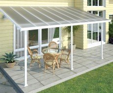 Palram Feria attached vinyl pergola.