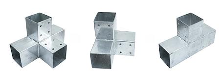 Metal corner bracket kit for building a pergola.