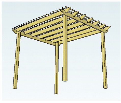 Copyright image: A pergola design made from the free plans, witha raised rafter style and purlins.