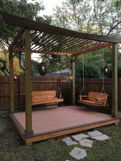 Copyright image: An amazing Asian pergola made from the free pergola plans.