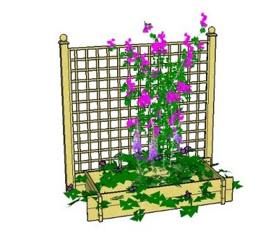 Copyright image: A raised bed planter with trellis:  A simple way to create an attractive patio area.