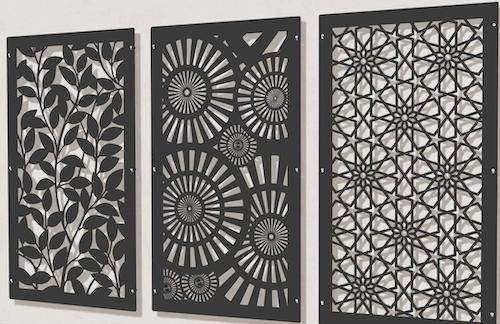 Metal, decorative screen panels.