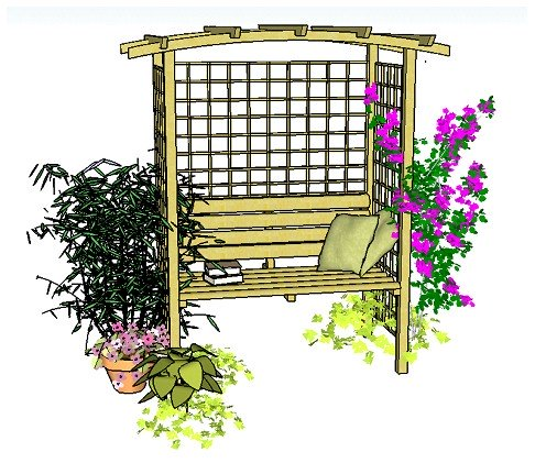 Copyright image: A beautiful arbour with curved rafters and integral seat, made from the arbour plans.