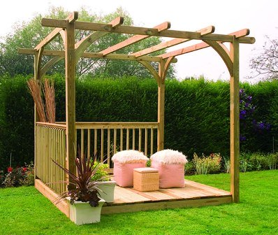 Forest Garden Ultima pergola kit with decking.